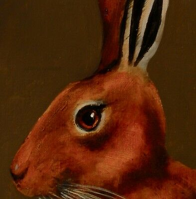 HARE PORTRAIT : ORIGINAL OIL PAINTING : Wildlife Rabbit Art by David Andrews