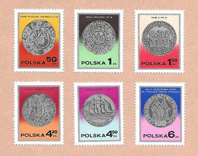 1977 Poland { Old Silver Coins }  ~ Set Of 6 ~ Mint Un Hinged