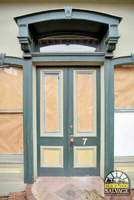 Victorian Double Door Entryway Orig Brass Hardware, Wavy Glass & Arched Transom