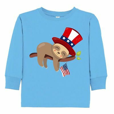 Inktastic Sleepy Patriotic Sloth Toddler Long Sleeve T-Shirt Cute Independence