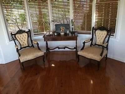 Pair of carved Edwardian Armchairs. Reduced Starting Price.