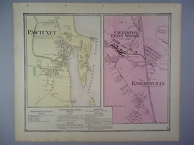 1870 Pawtuxet & Knightsville, Rhode Island Hand-Colored Map, D.G Beers & Co.