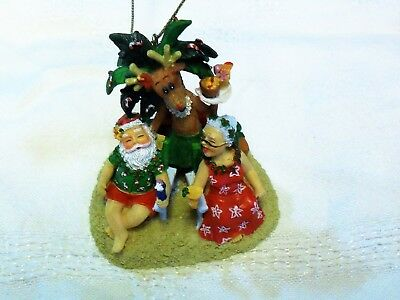Santa and Mrs Clause on Vacation In Paradise Island Heritage Christmas Ornament