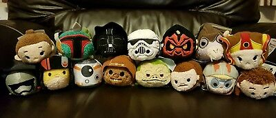 Job Lot! 15 x Star Wars Tsums Tsums Disney Store Darth Vader BB-8 Rey Jabba