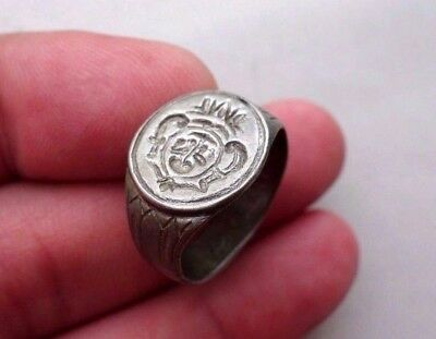 ancient Middle Ages - Dark Ages silver ring, engraved with a crest