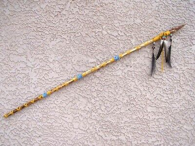 Native American Spear/Lance with Agate Tip & Medicine Wheel