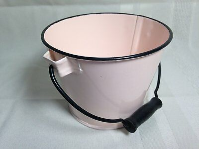 Small Pink Steel Bucket Pail with Black Wooden Handle for Planter/Craft Projects