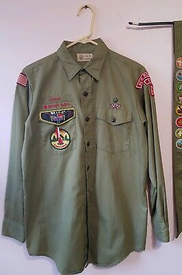 Vtg. Boy Scout Shirt with Patches - Senior Patrol Leader 1970's