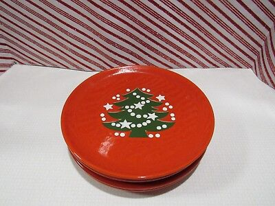 Waechterbach RED CHRISTMAS TREE ~ set of 4 ~ 7 3/4 inch Salad Plates ~ Used Once