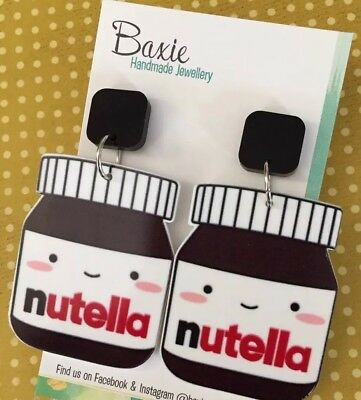 Large 'Nutella' Style Dangle Earrings, Kawaii Chocolate, Black, Surgical Stud