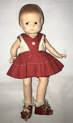 "Composition Effanbee Patsyette Doll 9"" Original Outfit And Shoes"