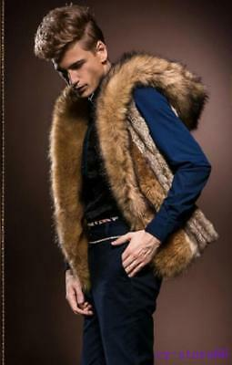 Luxury Mens Winter Warm Faux Fur Outerwear Hooded Vest Coat Soft Waistcoat Tops