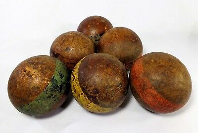 Early 20Th C Antique Primitive 6 Pc Wooden Croquet Balls, W/painted Enamel Bands