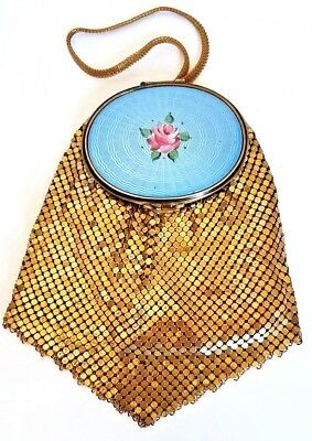 Vintage EVANS Mesh Purse Vanity Compact with Large Oval Blue Guilloche Enamel.