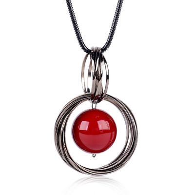 Fashion Jewelry Pendant Circle Red Necklace Pearl Long Chain Sweater Statement