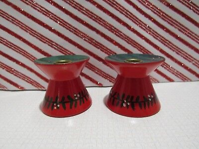 Vintage Swedish Red Wooden Candle Holders Hand Painted 1950's w/metal inserts