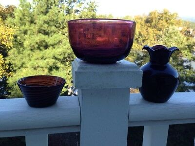 3 Antique 19C Hand Blown Amethyst Purple Glass; 2 Finger Bowls, 1 Vase; small