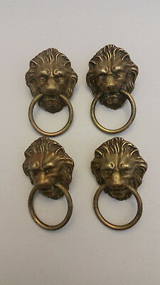 Antique Brass Set of 4 Lion Face Pulls with Rings