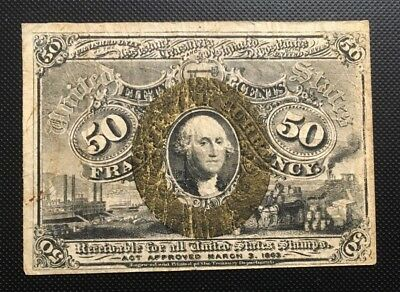 1863 US 50 cent Currency Fractional Note.- George Washington on Front