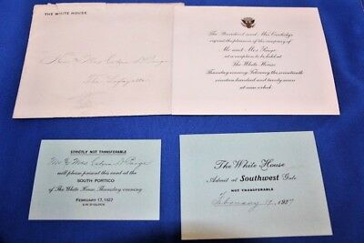 President Calvin Coolidge Invitation to White House Reception 1927