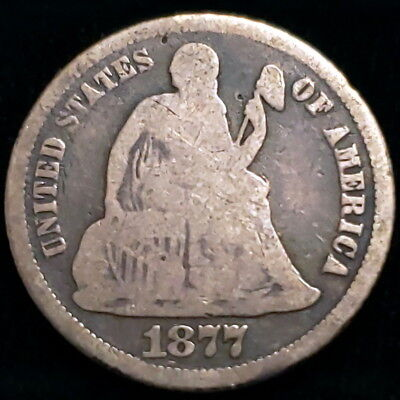 1877 CC US Seated Liberty Dime 10c Cent .900 Silver Nice Collector Coin 0SLD7755