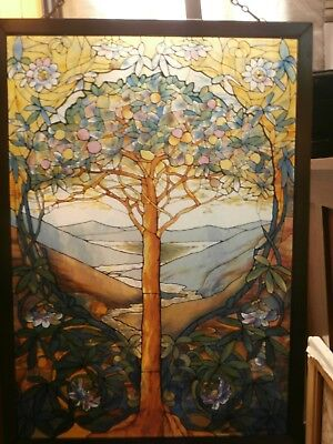 Louis Tiffany Glassmasters Stained Glass Tree Of Life Hanging Pannel Window