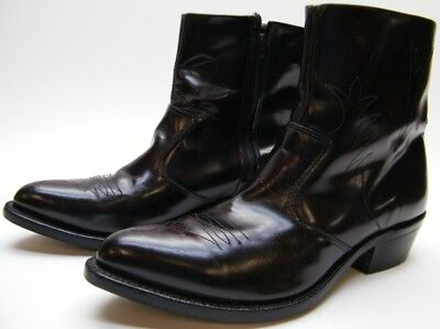 Mens Vtg Hh Burgundy Leather Ankle Zip Cowboy Western Work Boots 9.5~1/2 D Usa