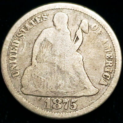 1875 US Seated Liberty Dime .10c Ten Cent .900 Silver Collector Coin 0SLD7558
