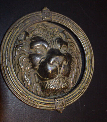 vintage LARGE ORNATE LION's HEAD BRASS DOOR KNOCKER approx 9""