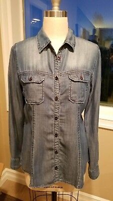 fdc838710 MAURICES Women's Sz M Chambray Mid Was Denim Button Down Shirt Top Blouse  Drapey