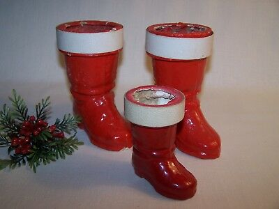 Vintage Paper Mache Christmas Boots Candy Containers