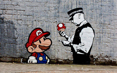"Banksy, Super Mario, Graffiti Art, Giclee Canvas Print, 10""x16"""