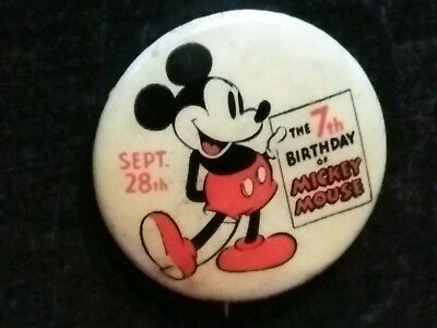VINTAGE antique 1930s Disney MICKEY MOUSE 7th birthday celluloid pin back button