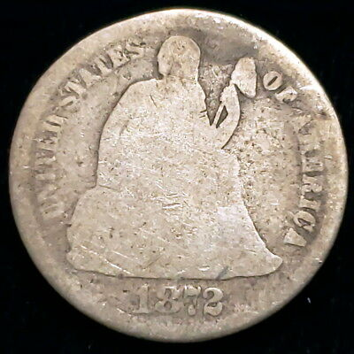 1872 US Seated Liberty Dime .10c Ten Cent .900 Silver Collector Coin 0SLD7264