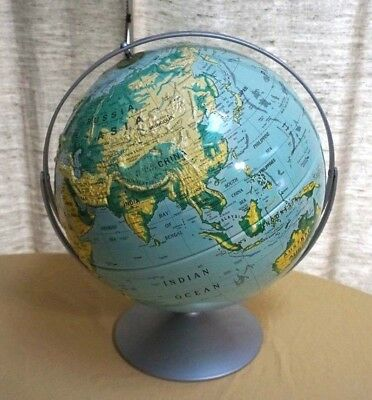 """Nystrom Sculptural Relief Globe 16"""" Map No. 39-47 1996 Edition"""