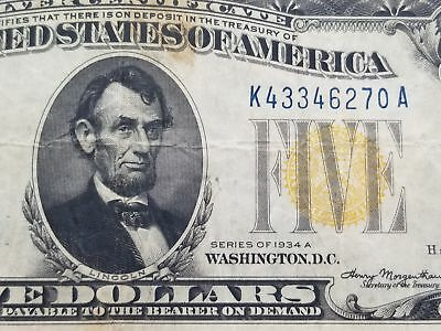 Series 1934 A $5 North Africa WWII Silver Certificate Note VF 125-8