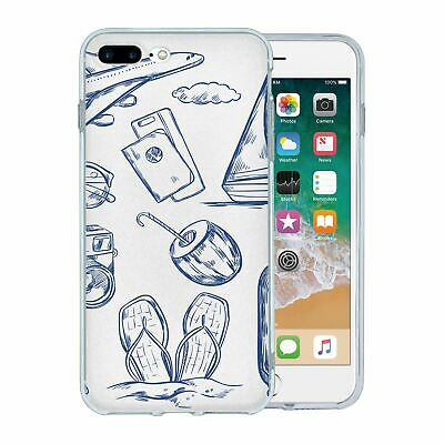 For Apple iPhone 7 Plus Silicone Case Travel Holiday Pattern - S4750