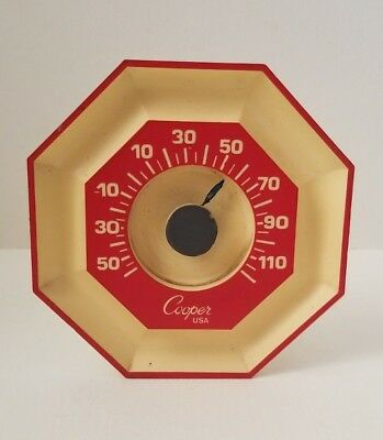 Vintage 50's Cooper USA Thermometer Octagon Swivel Wall Mount red yellow WORKS!