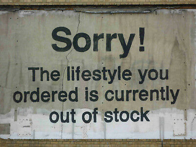 "Banksy, Sorry, the Lifestyle..., Graffiti Art, Giclee Canvas Print, 12""x16"""