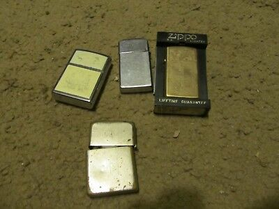 4 old vintage zippo lighters lot brass engraved 1956 flat bottom slim sail ship