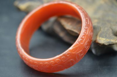 EXQUISITE CHINESE NATURAL AGATE HAND CARVED BANGLE RED BRACELET m125