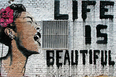 "Banksy, Life Is Beautiful, Graffiti Art, Giclee Canvas Print, 10.5""x16"""
