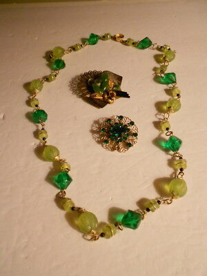 Vintage Green Beaded Necklace and Pin Lot