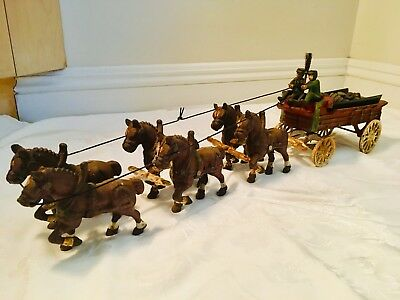 Vintage Clydesdale Cast Iron Horse Drawn Beer Wagon 2 Drivers