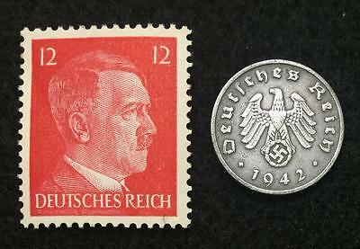 Authentic Rare German Coin and unsued Stamp WORLD WAR 2