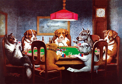 Dogs Playing Poker Art Fabric Poster HD Print 12x17/25x 36 inch Multi-sizes#B108
