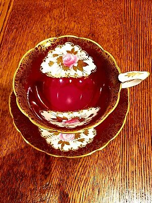 Royal Stafford Fine BONE china Cup And Saucer Red Gold Gilt Roses Rare