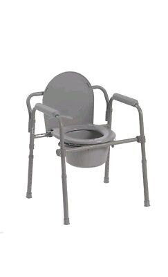 Folding Steel Bedside Commode Toilet Seat Senior Citizen Bathroom Safety Chair