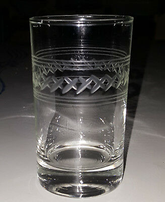 """antique 4"""" ETCHED """"X""""  2 set of 3-line BAND Pattern Water Drink glass"""