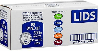NEW WinCup White Cup Lids DT18 Consumer Drink Thru Tear Tab Straw Slow 500ct